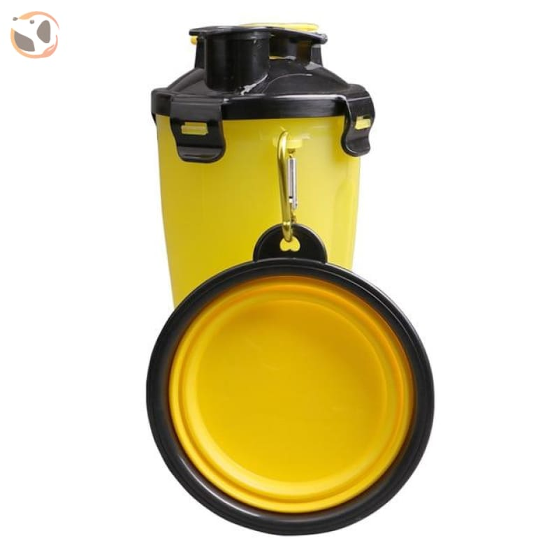 Portable Water&food Dog Bottle With Bowl - Yellow