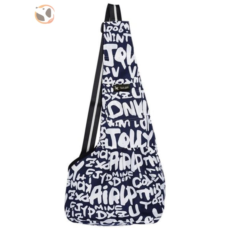 Single Shoulder Small Dog Carrier Bag - Blue Letter / S