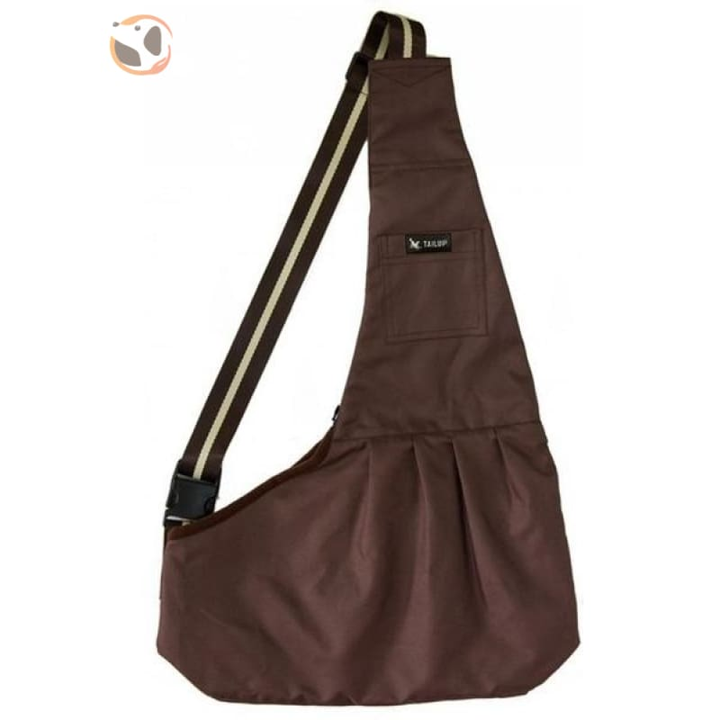 Single Shoulder Small Dog Carrier Bag - Brown / L
