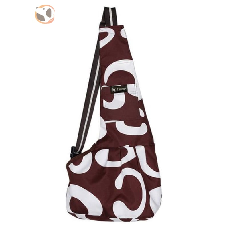 Single Shoulder Small Dog Carrier Bag - Brown White / S