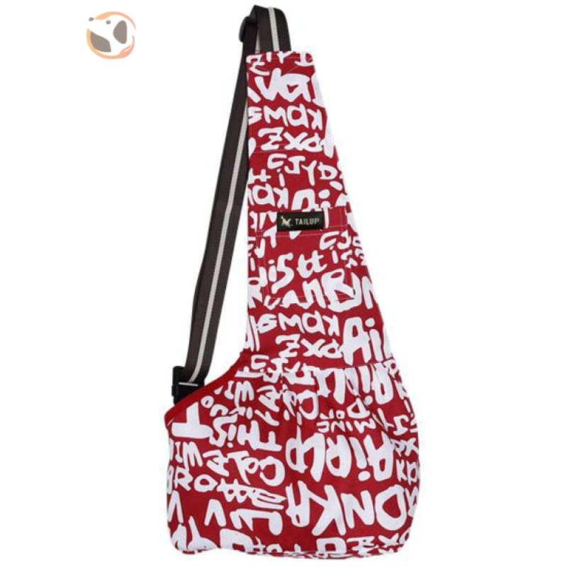 Single Shoulder Small Dog Carrier Bag - Red Letter / S