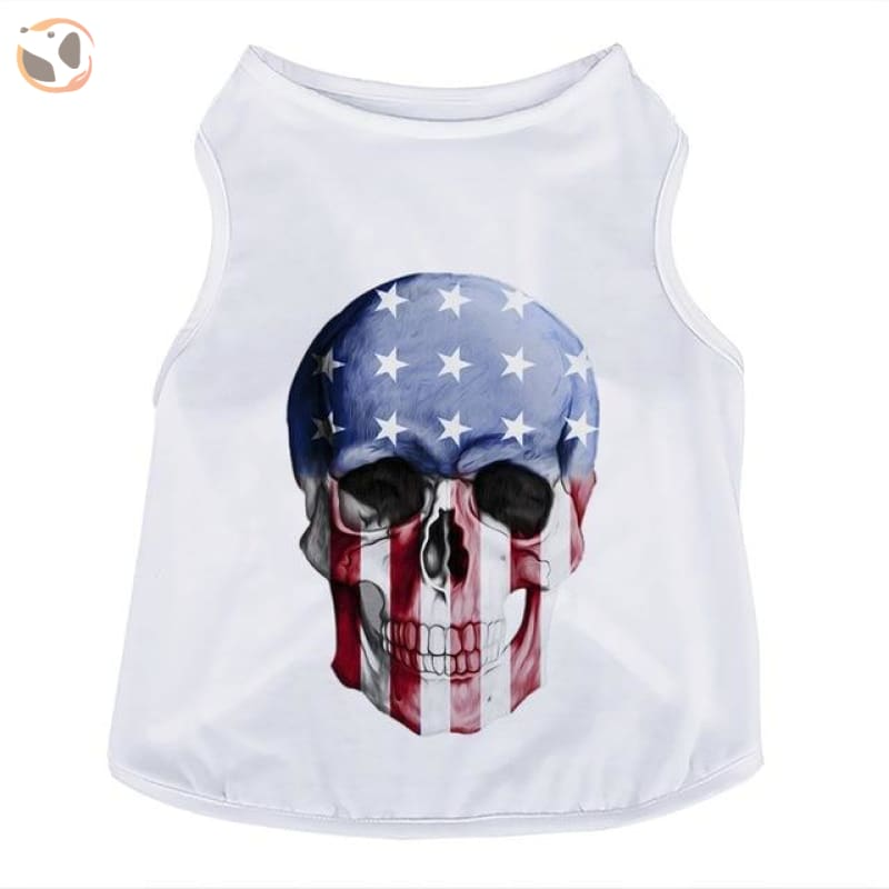 Skull Head 3D Printed Dog T Shirts - Us National Flag / S