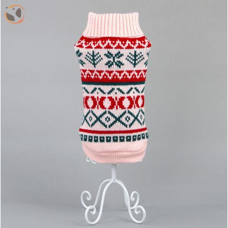 Snowflake Pattern Sweater for Cats - Pink / XS chest28cm Back17
