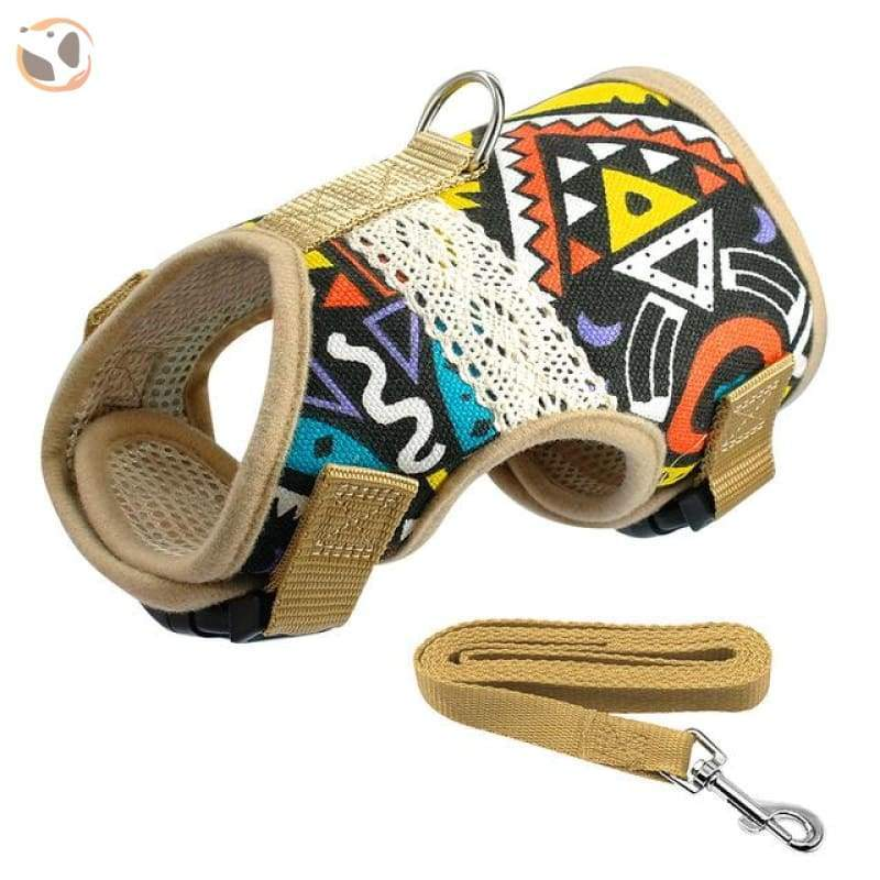 Soft Printed Dog Harness Leash Set For Small Dogs - Black / L