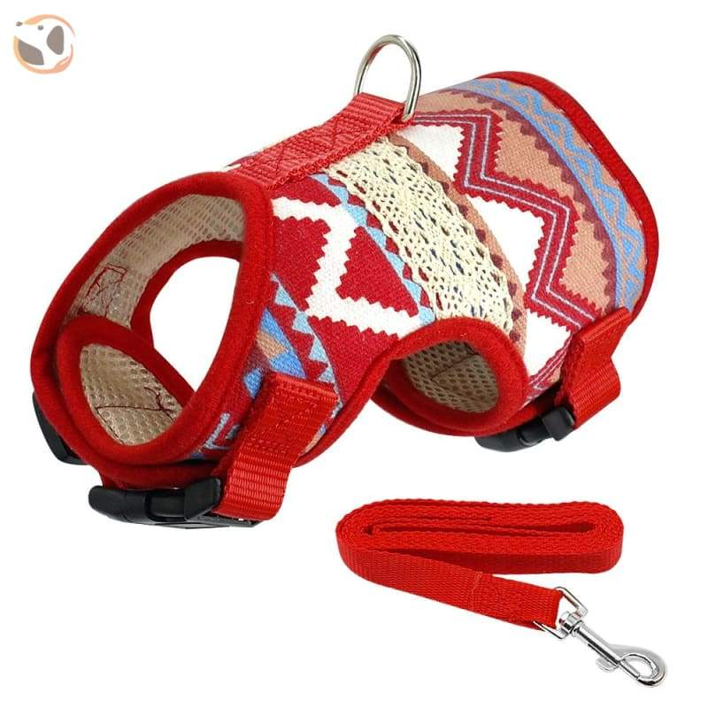 Soft Printed Dog Harness Leash Set For Small Dogs - Printed / L