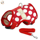 Soft Printed Dog Harness Leash Set For Small Dogs - Red Dot / L