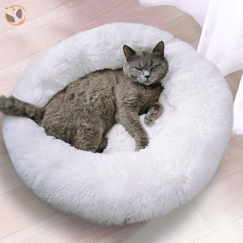 Soft Round Cat Bed - White / Diameter 19.5 in