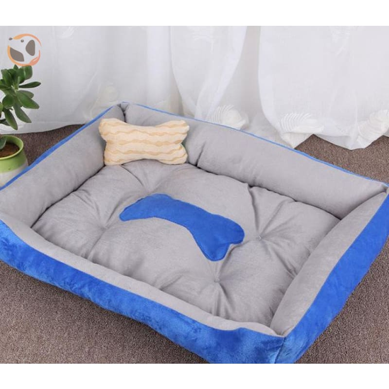 Soft Warming Dog Bed For Winter - Blue / L 60X45Cm