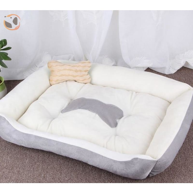 Soft Warming Dog Bed For Winter - Grey / L 60X45Cm