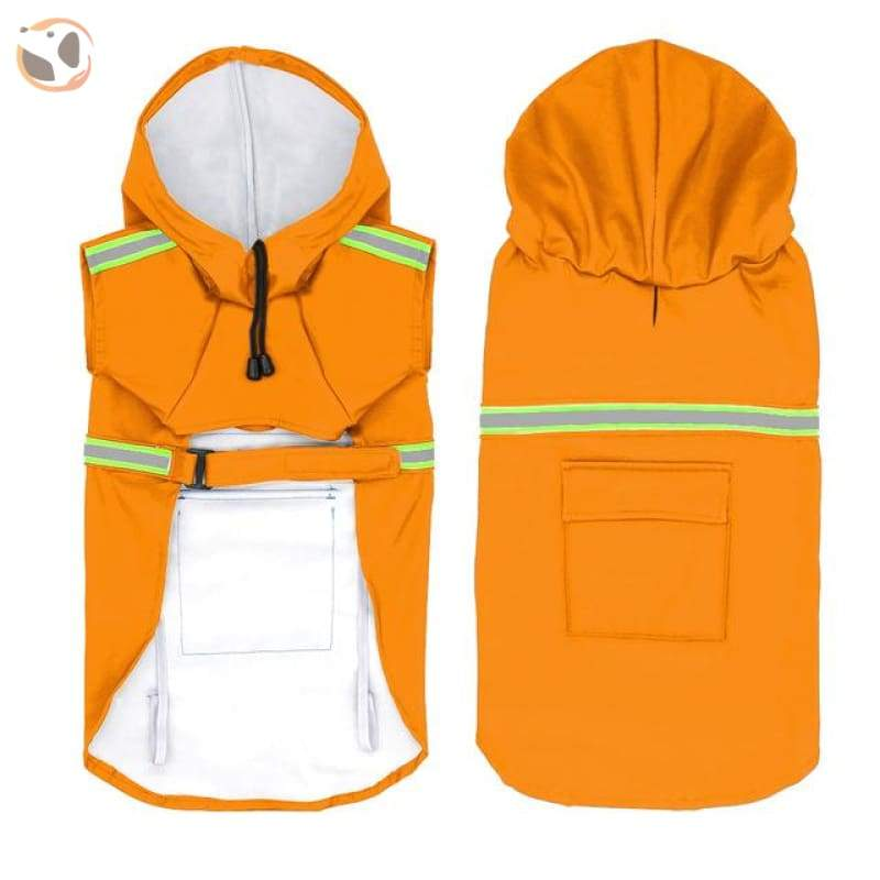 Stylish Reflective Dog Raincoat For Small & Large Dogs - Orange / 2Xl