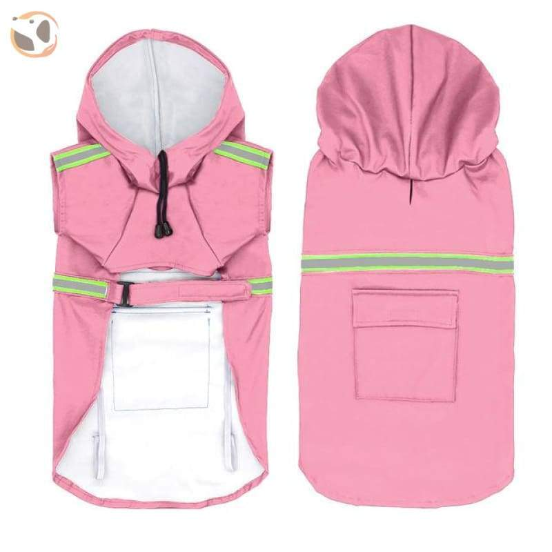 Stylish Reflective Dog Raincoat For Small & Large Dogs - Pink / 2Xl