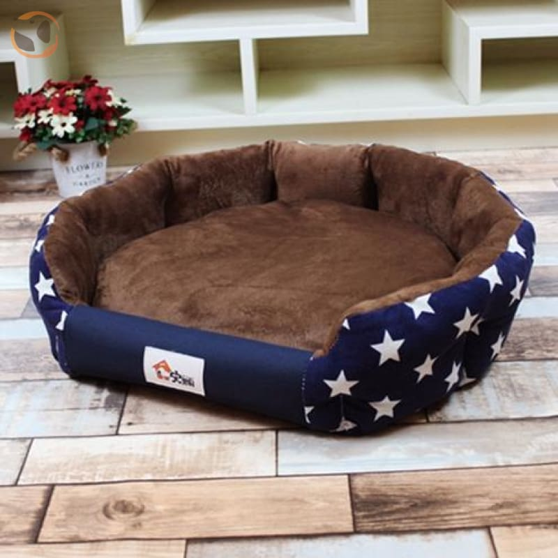 Stylish Warm and Soft Waterproof Bed for Small Medium Dogs and Cats - Navy Blue / S