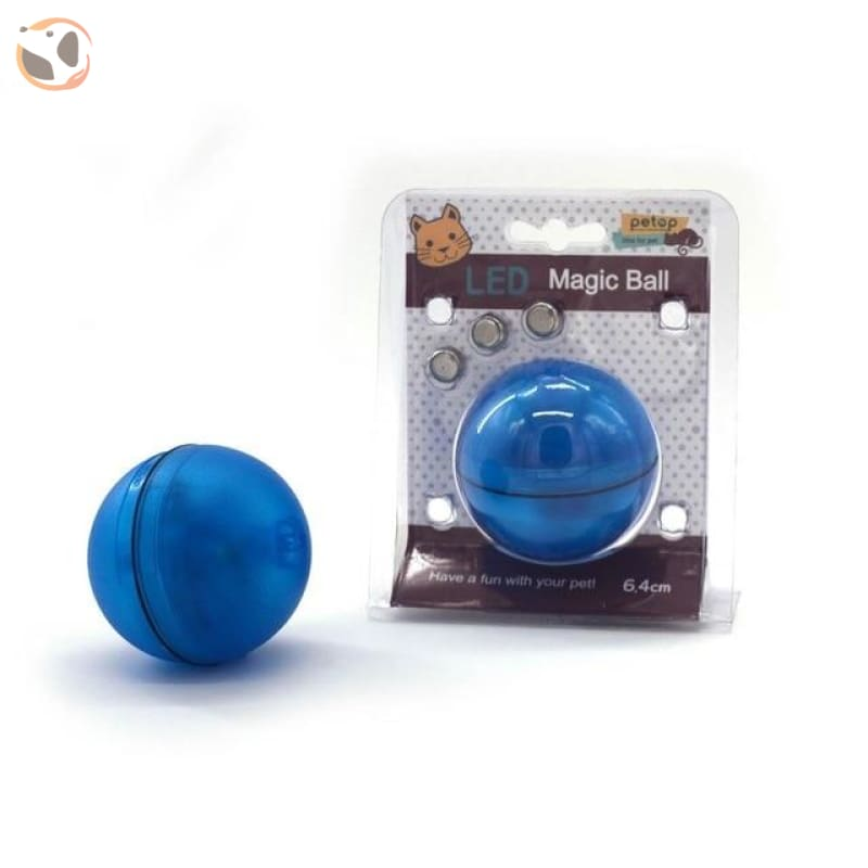 USB Rechargeable Electric Rolling Ball Toys for Cats - Blue-Button Battery