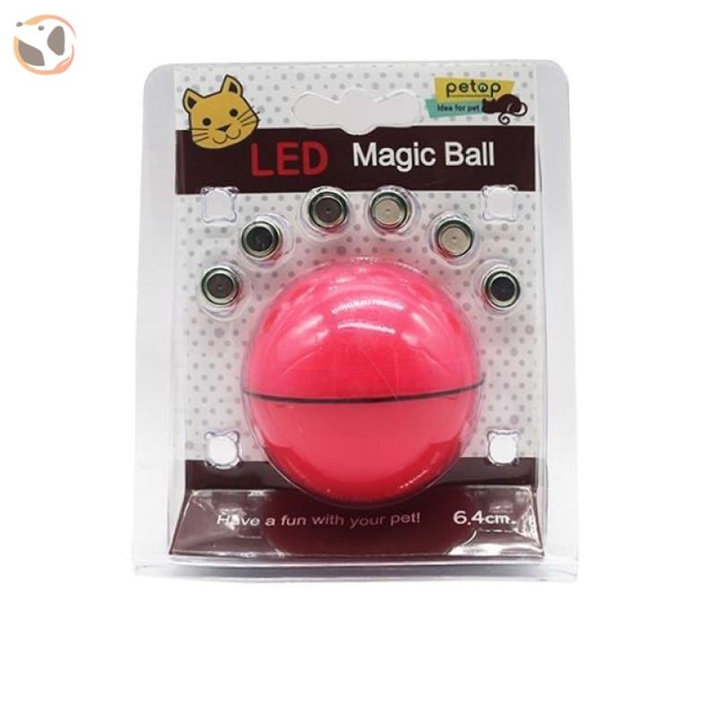USB Rechargeable Electric Rolling Ball Toys for Cats - Red-Button Battery