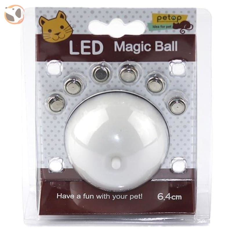 USB Rechargeable Electric Rolling Ball Toys for Cats - White-Button Battery