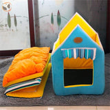Washable Soft Dog House With Cushion - Blue / L