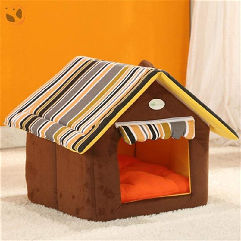 Washable Soft Dog House With Cushion - Brown / L
