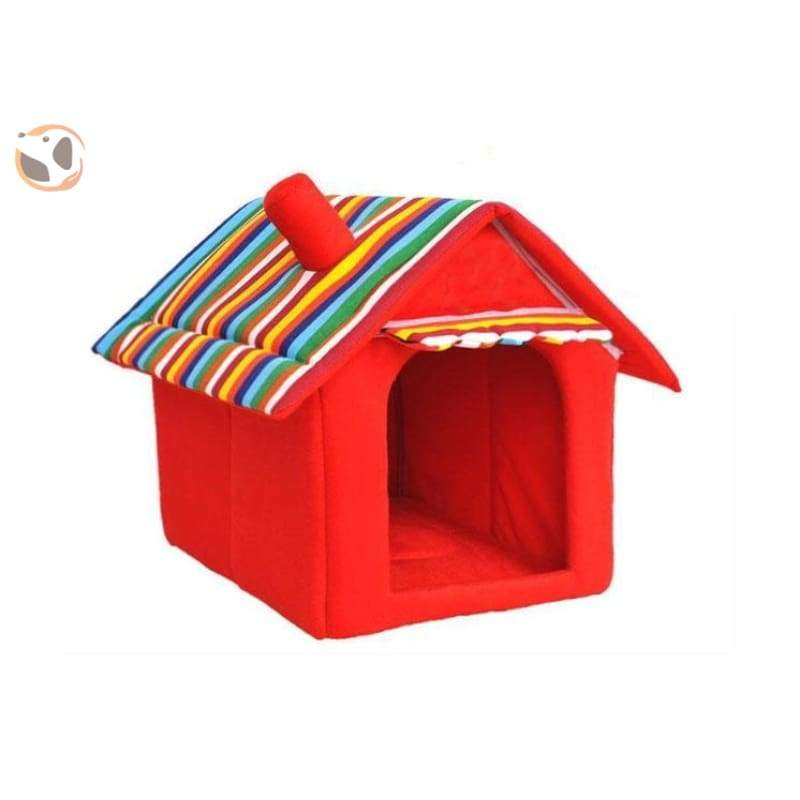 Washable Soft Dog House with Cushion - Red / S