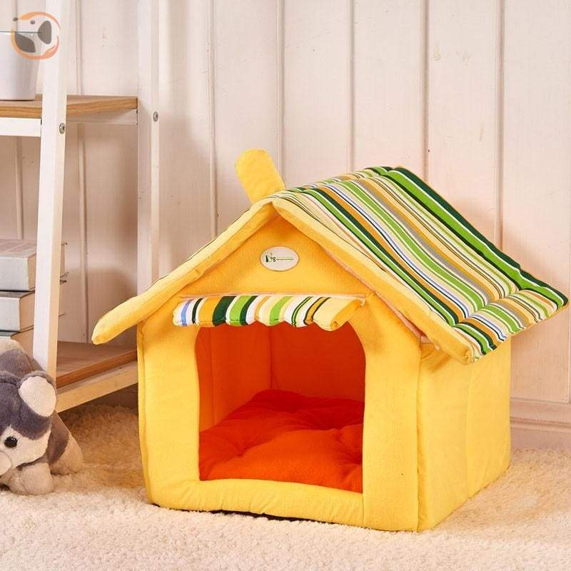 Washable Soft Dog House with Cushion - Yellow / S