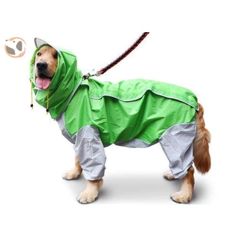 Waterproof Dog Raincoats For Large Dogs - Green / S