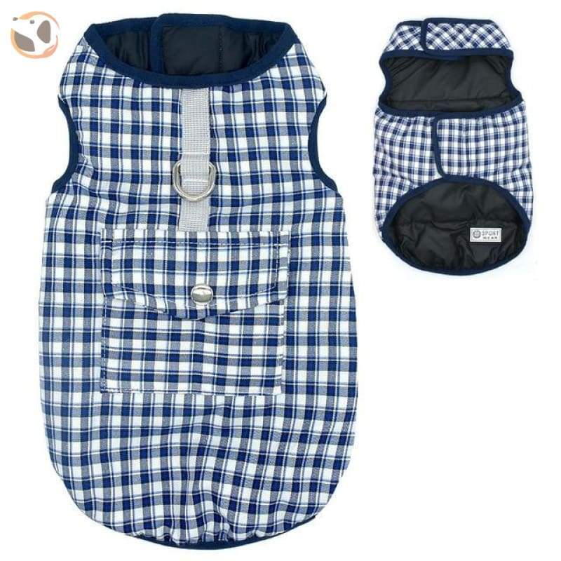 Waterproof Patterned Dog Coats - Blue Gird / L