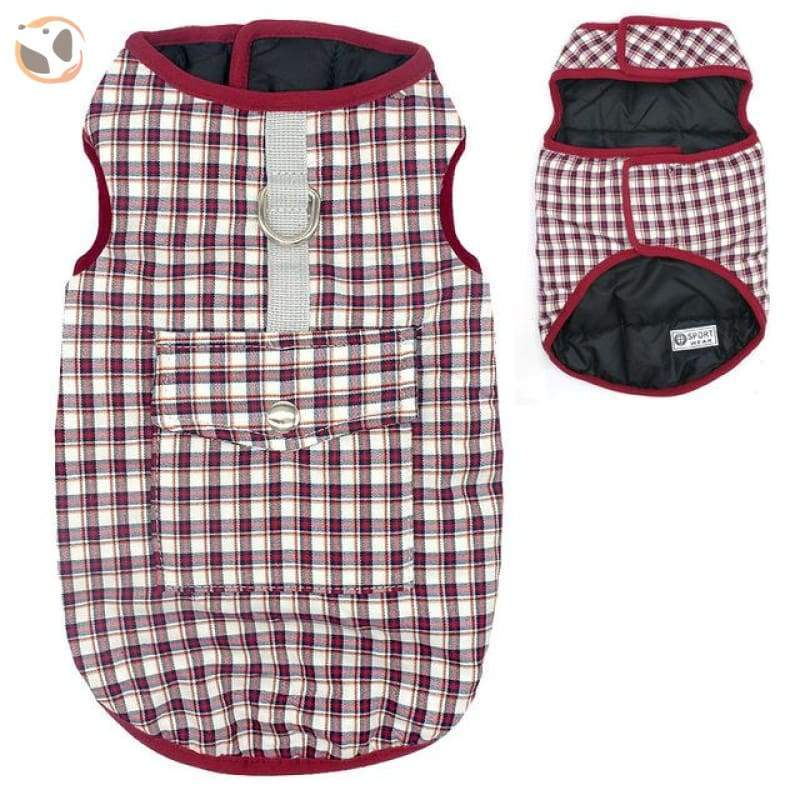 Waterproof Patterned Dog Coats - Red Gird / L