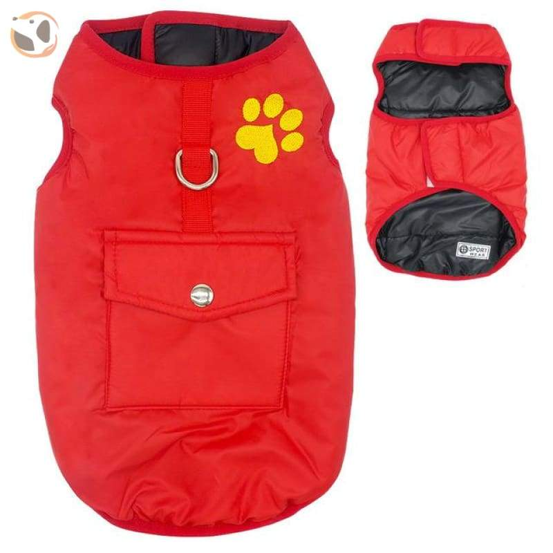 Waterproof Patterned Dog Coats - Red / L