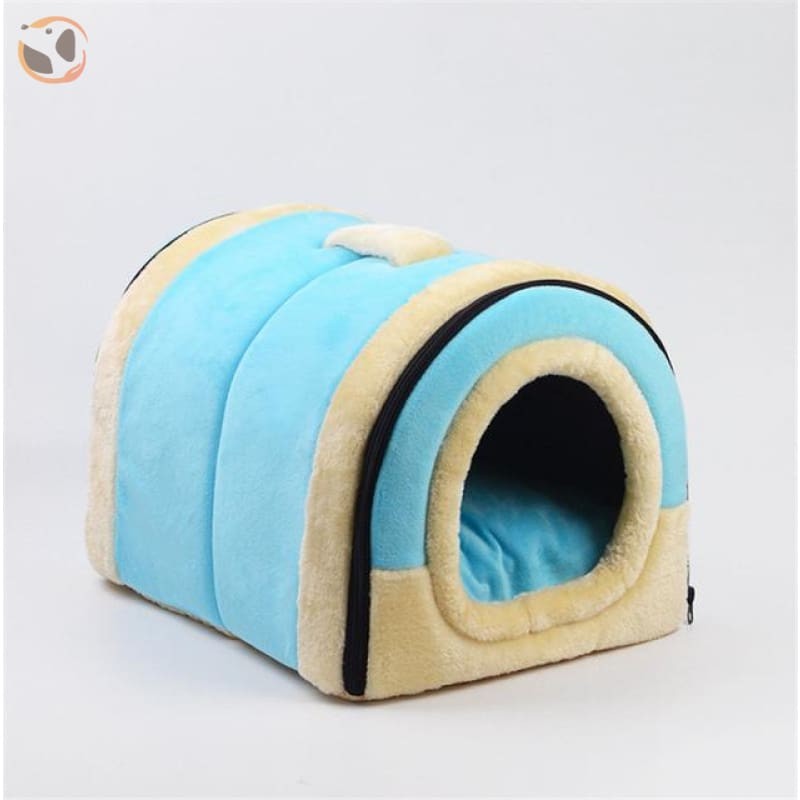 Windproof Covered Pet House - Blue / S