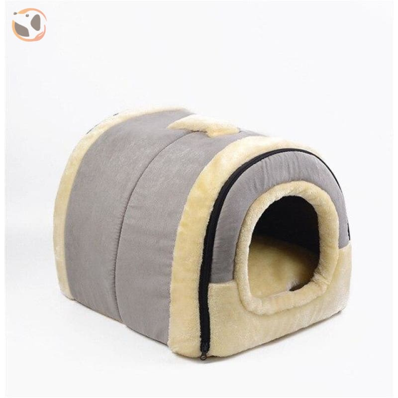 Windproof Covered Pet House - Gray / M