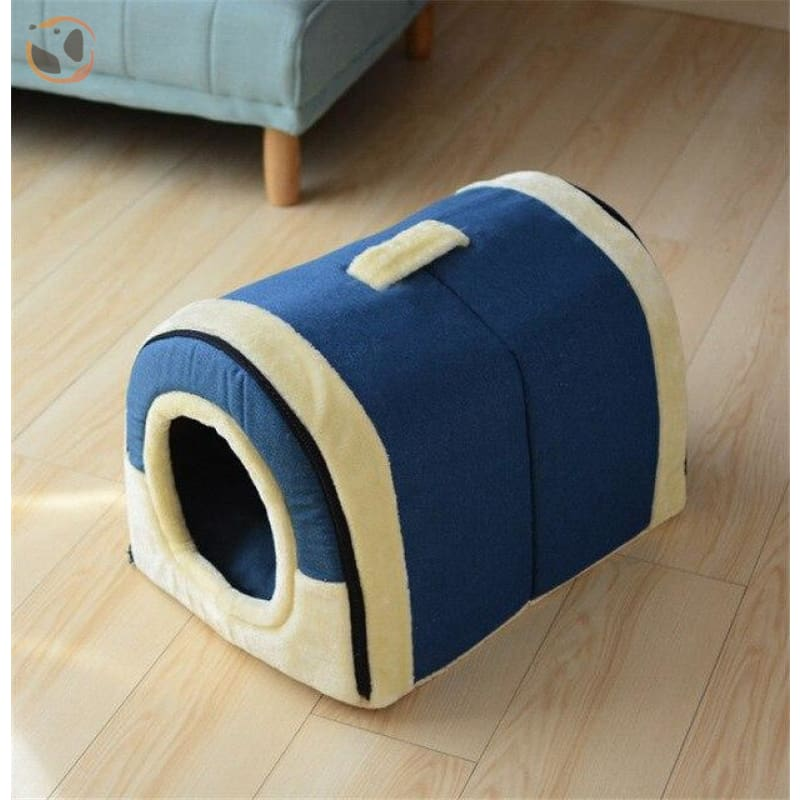Windproof Covered Pet House - Navy Blue / L