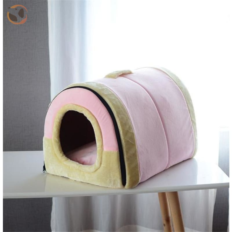Windproof Covered Pet House - Pink / S