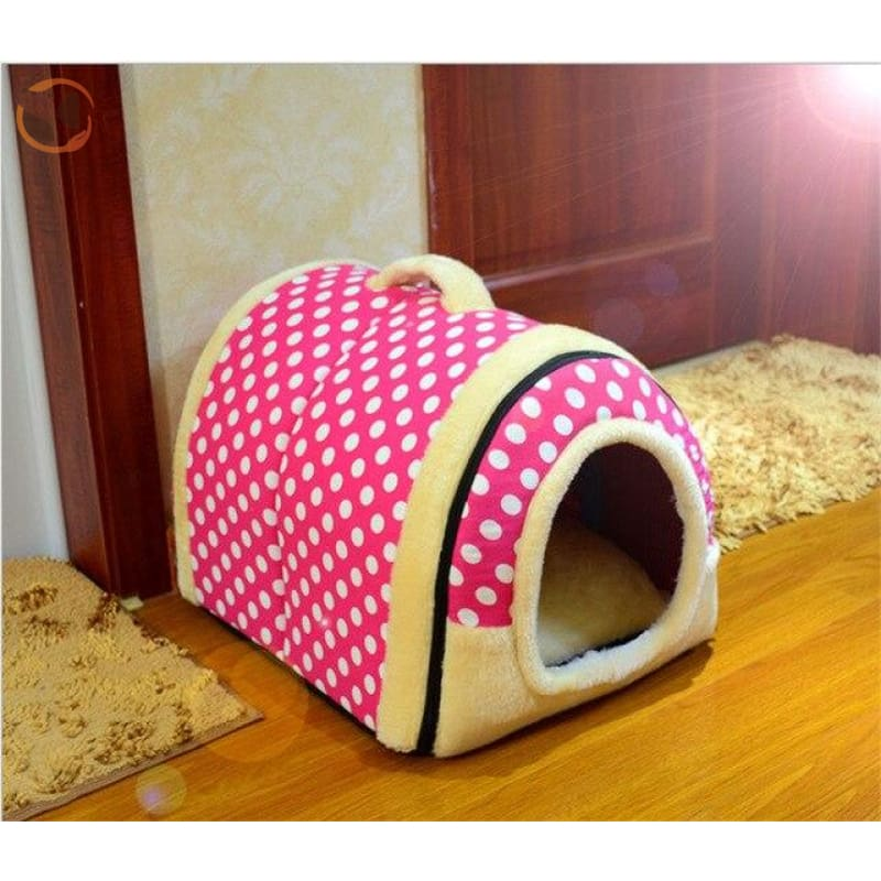 Windproof Covered Pet House - Red / S
