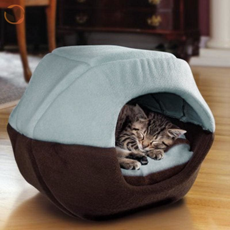 Winter House with Sleeping Mat for Pets - Blue / S