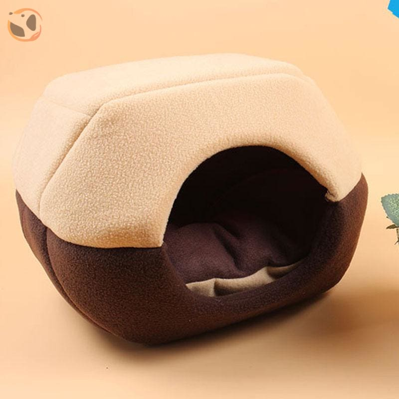 Winter House with Sleeping Mat for Pets - coffee / S
