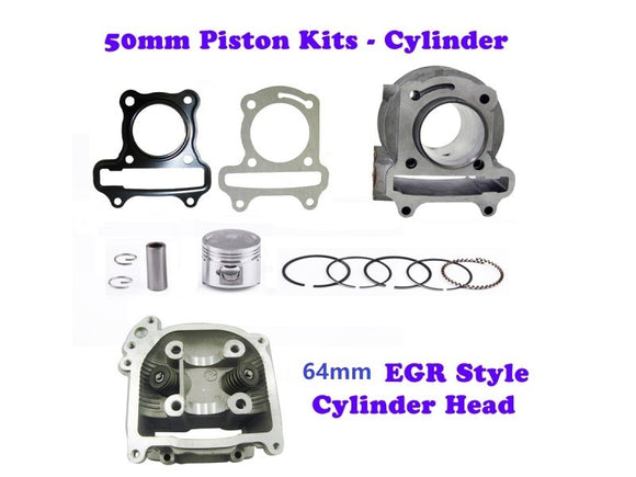 QMB139 50mm Big Bore Cylinder Kit GY6 engine with 64mm EGR Head