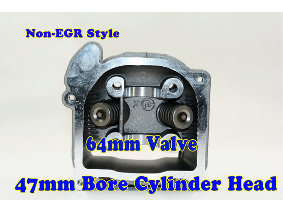 GY6 80cc 47mm Bore non-EGR cylinder head with 64mm valve - ChinesePartsPro