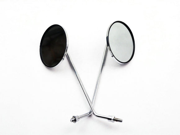 Mirrors - 8mm Rh Thread Chrome Round for gy6 - ChinesePartsPro