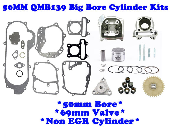 QMB139 50mm Big Bore Cylinder Kit Non-EGR with *69mm Valve* - ChinesePartsPro