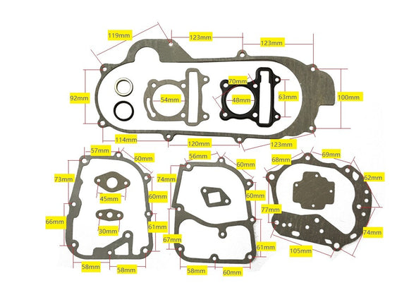 47mm 80cc GY6 short Case Gasket Set - ChinesePartsPro