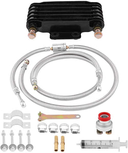 Engine Oil Cooler Kit 85ml, for GY6 100CC-150CC Engine, Motorcycle Oil Cooling Radiator System Set with Braided Hose, Adapter, Clamps, Injector,(Black)