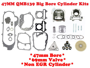 QMB139 47mm Big Bore Cylinder Kit Non-EGR with *69mm Valve* - ChinesePartsPro