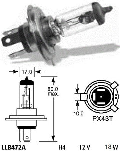 Bulb - Headlight  H4 12V 18W/18W P43T Rim - ChinesePartsPro