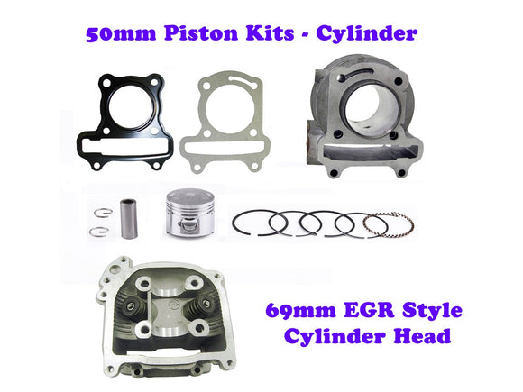QMB139 50mm Big Bore Cylinder Kit GY6 engine with 69mm EGR Head