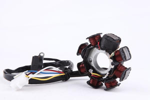 8 poles coils 5 wires - AC Stator Alternator Magneto Assembly Type-2 GY6 50CC - ChinesePartsPro