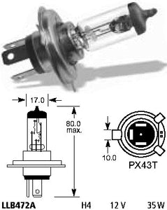 Bulb - Headlight H4 12V 35W/35W P43T - ChinesePartsPro