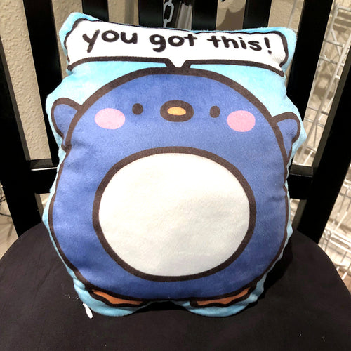 Motivational Penguin Plush Pillow