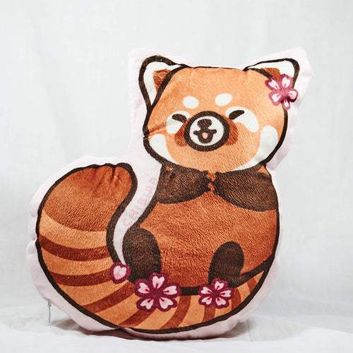 Cherry Blossom Red Panda Plush Pillow