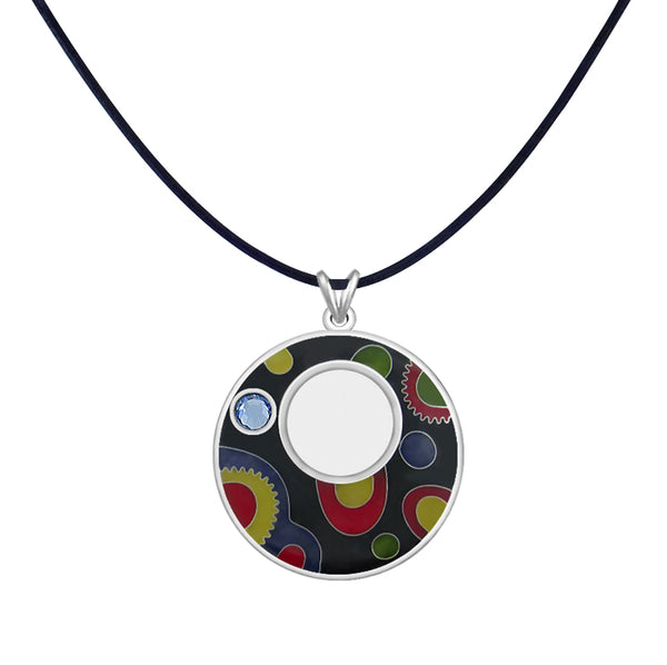 Sterling Silver Enamel Pendant Leather Cord Necklace Made with Swarovski Crystal