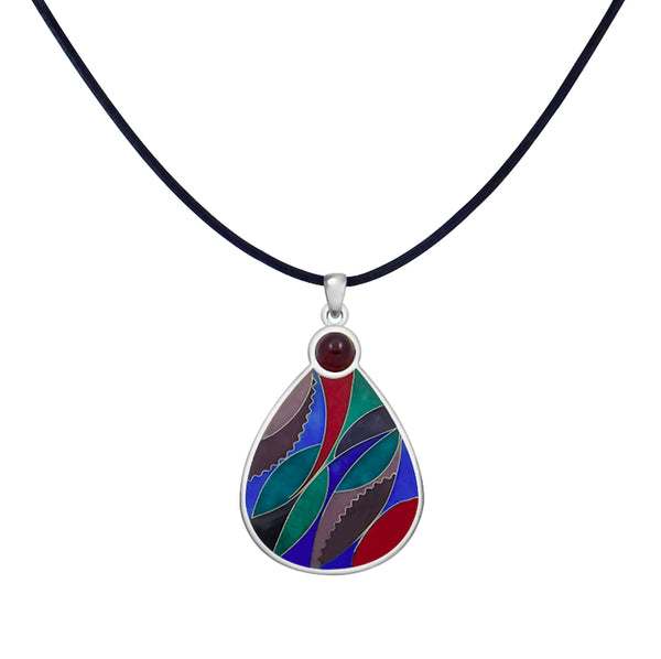 Drop Sterling Silver Enamel & Garnet Pendant Leather Cord Chain Necklace