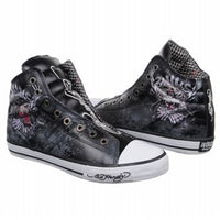 Ed Hardy Men's High-rise Brooklyn Leather Black Fashion Sneaker Shoes